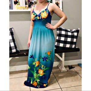 Very beautiful long blue floral dress
